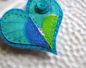 RESERVED - Embroidered Felt Heart Brooch - Clara Aqua and Blues Vintage Fabric Heart Brooch