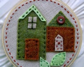 Embroidered Wall Art - Little Felt Houses in Greens and Browns on Linen - No Place Like Home Series