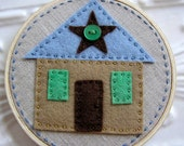 Embroidered Wall Art - Little Felt House in Caramel and Sky and Chocolate on Linen - No Place Like Home Series