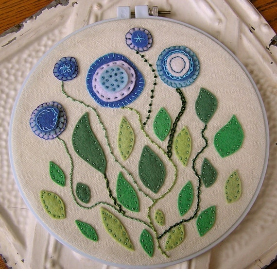 Felt Flowers Wall Decor : Items similar to embroidered wall art blue and green