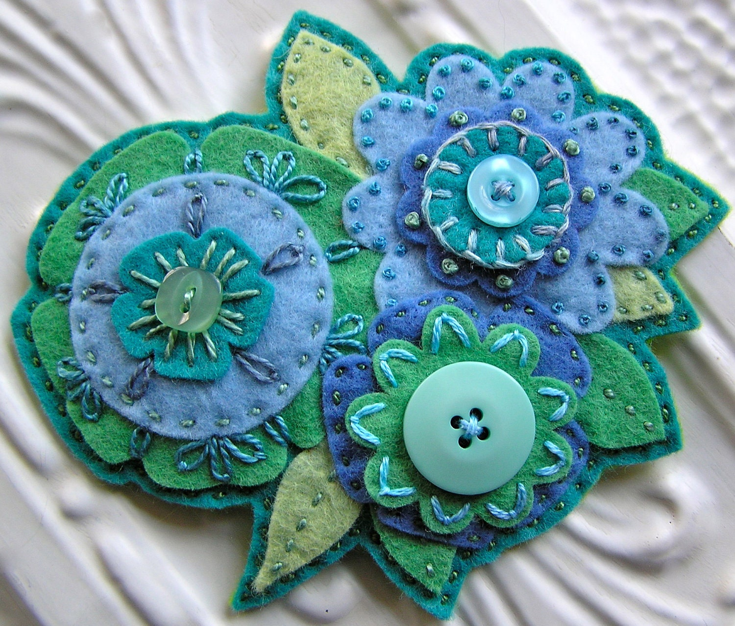 Embroidered Felt Flower Brooch Collage Atlantis