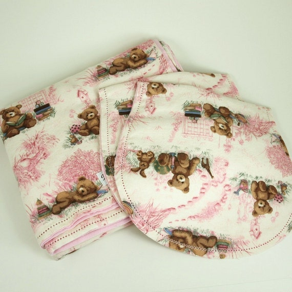 Hemstitched Baby Blanket Set Pink Teddy Bear Toile By