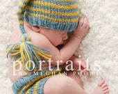 0-3 Month Striped Stocking Hat and Diaper Cover Set Newborn Photography Prop CUSTOM COLORS