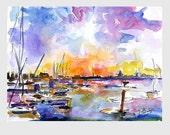 Patriots Point Mt Pleasant Marina Sunset Charleston SC Original Watercolor by Ginette Callaway