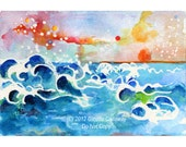 Evening Tide Sky and Seascape Original Small Watercolors Postcard Size Ginette Original Painting,