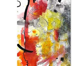Abstract Intuitive ORIGINAL Watercolor and Ink by Ginette