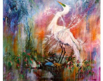 Birds Great White Egret Florida Coastal Birds HUGE ORIGINAL Wildlife Painting by Ginette Unstretched 64 x 67 Inches