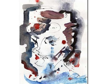 Abstract Modern Original Abstract Face Lips Kiss Watercolor and Ink painting by Ginette