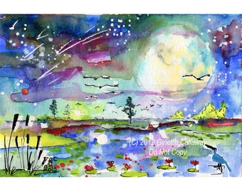 Moon Swamp Landscape New Birth Mother Earth Original Small Watercolors Postcard Size Ginette Original Painting,