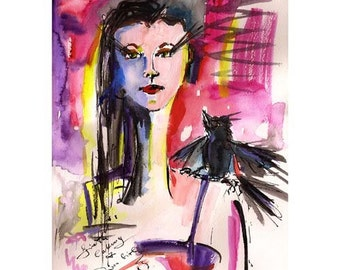 Girl with an Angry Bird on her Shoulder Watercolor and Ink Painting  by Ginette