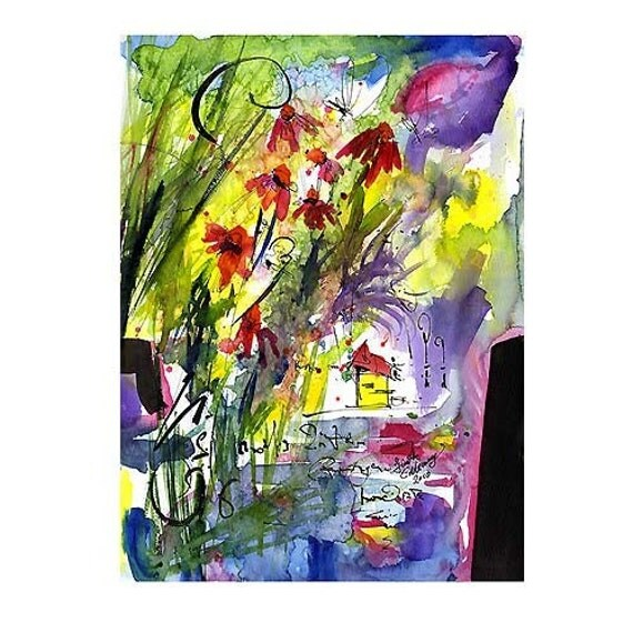 Whimsical Abstract Organic Floral Nature Inspired Watercolor and Ink ORIGINAL by Ginette