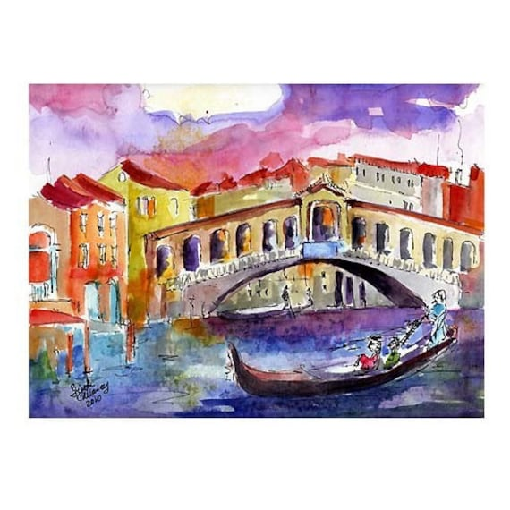 Rialto Bridge Venice Italy - ORIGINAL Watercolor by Ginette Callaway