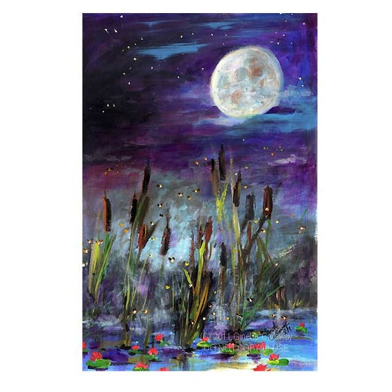 Moon and Fireflies Original Painting Cattails Lake and Lily Pads at Night by Ginette