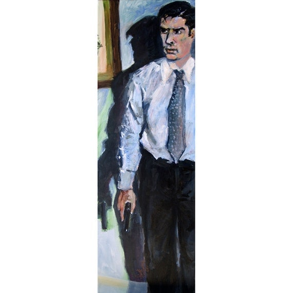 Criminal Minds Aaron Hotchner Pursuing The Reaper ORIGINAL Acrylic Painting on Canvas by Ginette