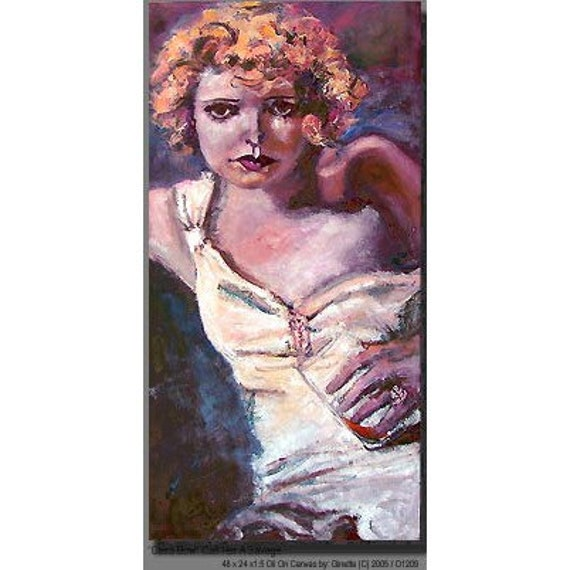 Old Hollywood Silent Movies Clara Bow Original Oil Painting by Ginette Callaway