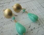 Mint Green Earrings, Green Gold Earrings, Matte Gold Teardrop Dangle Earrings