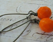 Orange Earrings, Tangerine Earrings, Orange Czech Fire Polished Glass Bead and Kidney Wire Wrapped Earrings