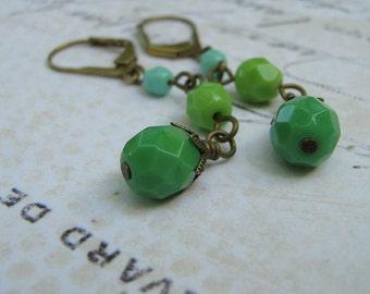Jadite Glass Earrings, Jadite, Pea Green and Blue Czech Glass Antiqued Brass Dangle Lever Back Earrings - Retro Earrings