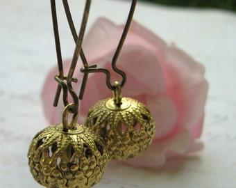 Brass Filigree Earrings, Brass Earrings, Fancy Brass Metal Filigree Bead and Kidney Wire Earrings