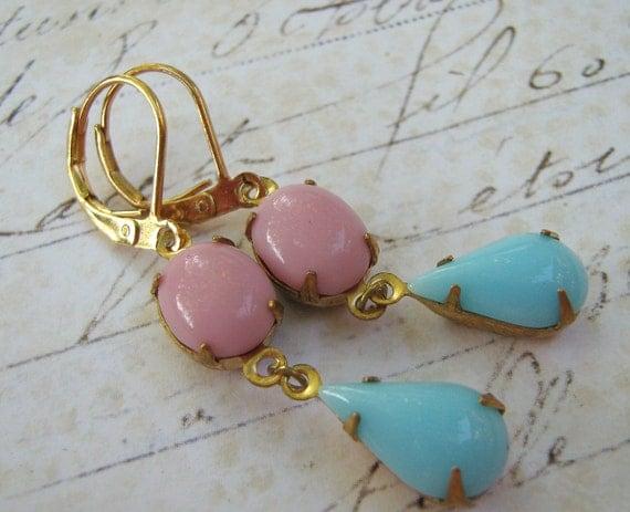Estate Earrings, Retro Earrings, Vintage Pink Blue Earrings, Blue Pink Glass Earrings, Brass Lever Back Earrings