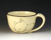 Small Wheel-thrown Cat Mug