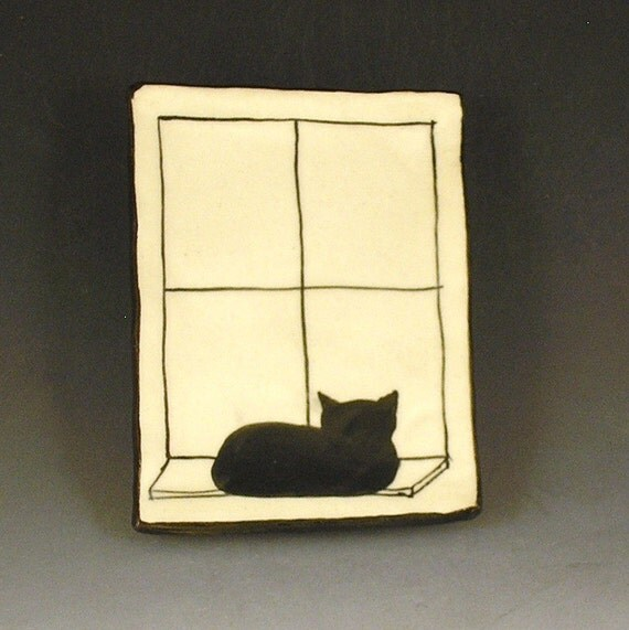 Small Handbuilt Ceramic Tea Bag Rest with Cat
