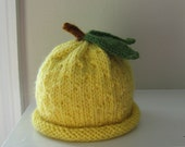 Lemon Baby Hat -0-3 Months - Soft Wool - Autumn - Winter - In Stock- Ready to Ship