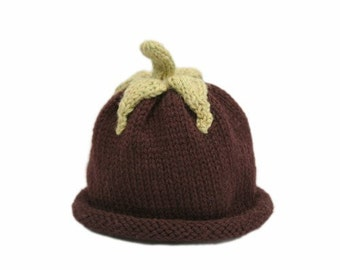 Aubergine Baby Hat - Wool - 6-18 Months - Made-to-order - Cute Photo Prop - Harvest