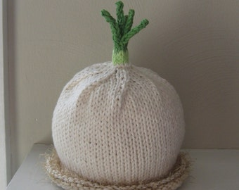 Knitted Baby Hat - Soft Cotton Scallion - 6 - 18 Months - Infant Cap - Made to order