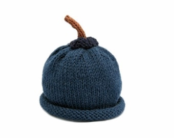 Blueberry Hat for Babies - Autumn - Harvest - Fall - Wool - Natural  - Sz 6 - 18 Months - Made-to-Order