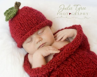 Apple Hat and Matching Cocoon 0 - 3 Months- Photography Prop - Made-to-Order