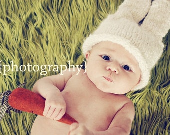 Snowbunny Hat - Chunky -Easter - Spring - 0-3 Months - Made-to-Order - Photography Prop