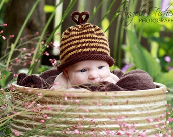 Honeybee Hat for Babies - Autumn - Harvest - Fall - Wool - Natural - Sz 0 - 3 Months - Made-to-Order