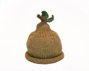 Bosc Pear Hat for Baby - Soft Wool - Fall  - Sz 6-18 months - Made to Order