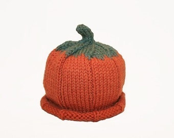 Pumpkin Hat -Baby - Wool - Sz 6 - 18 Months - In Stock - Ready to Ship
