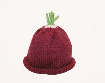 Radish Hat for Baby - Wool - Natural - 3-6 months - Made to order