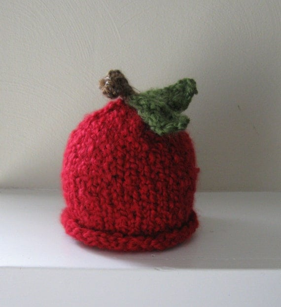 NEW - Chunky Red Apple Hat - 0-3 Months - Made-to-Order