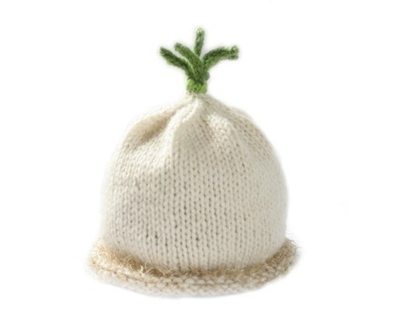 Knitted Baby Scallion Hat - Sz 3-6 Months - Wool - Made-to-Order