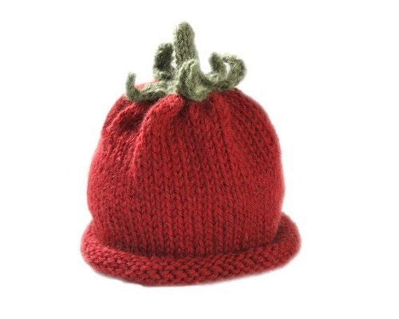 Tomato Hat for Babies - Wool - Natural  - Sz 3-6 Months - Made-to-Order
