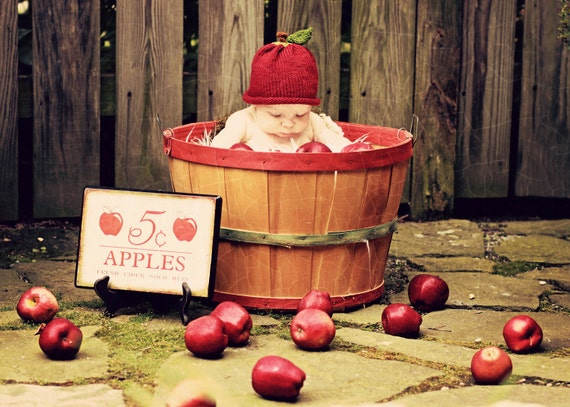 Apple Hat for Baby - Wool-  Sz 6 - 18 Months Featured in Grand Rapids Magazine - Made to Order - Photography Prop