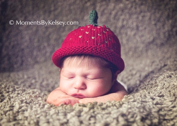 Soft Cotton Strawberry  Hat- Sz 3 - 6 Months - Made-to-Order