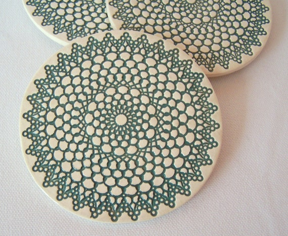 Retro Style Porcelain Coasters, set of four