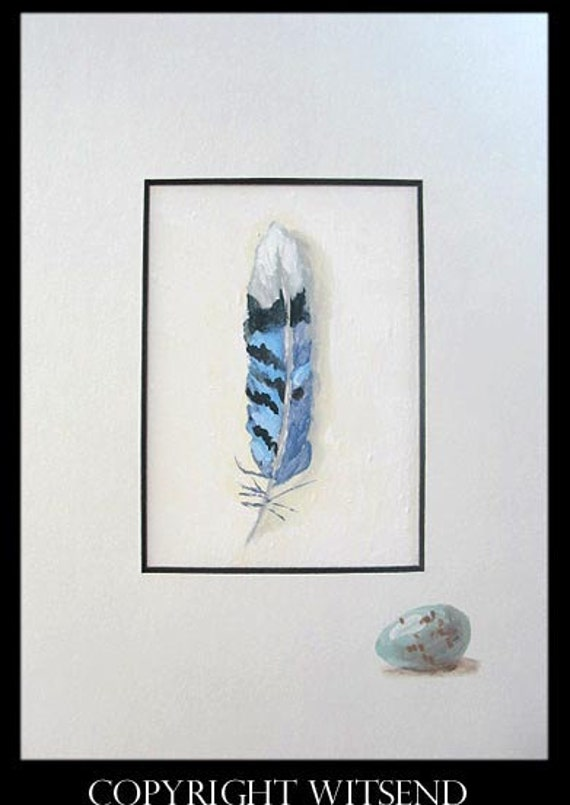 found treasures Blue Jay Feather Egg matted original bird painting