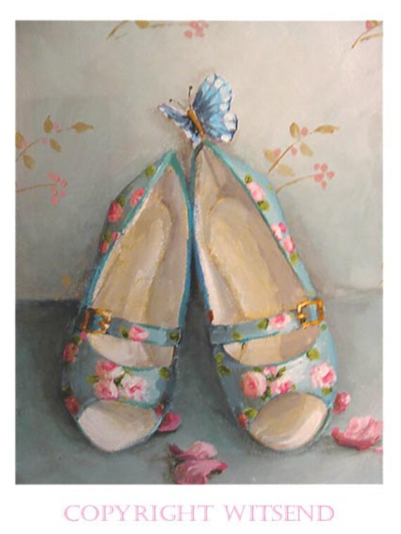 heels shoes painting roses petals and butterfly TREASURY item original ooak canvas painting