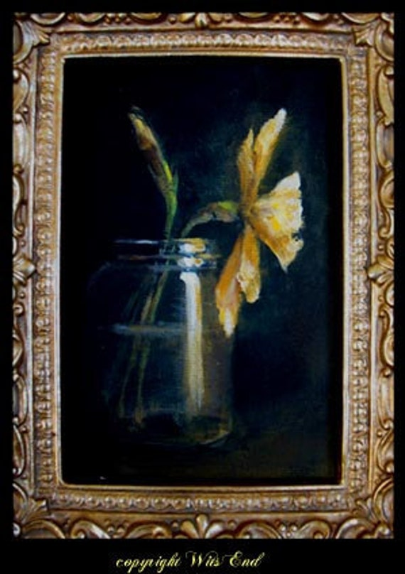 daffodils springtime painting includes frame Spring in a Jar FRAMED still life ooak original still life Treasury item  FREE usa shipping