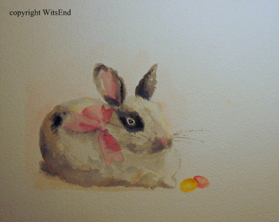 RESERVED for MB bunny rabbit painting watercolor - free shipping The Much Loved Miss Jelly Bean,  original ooak