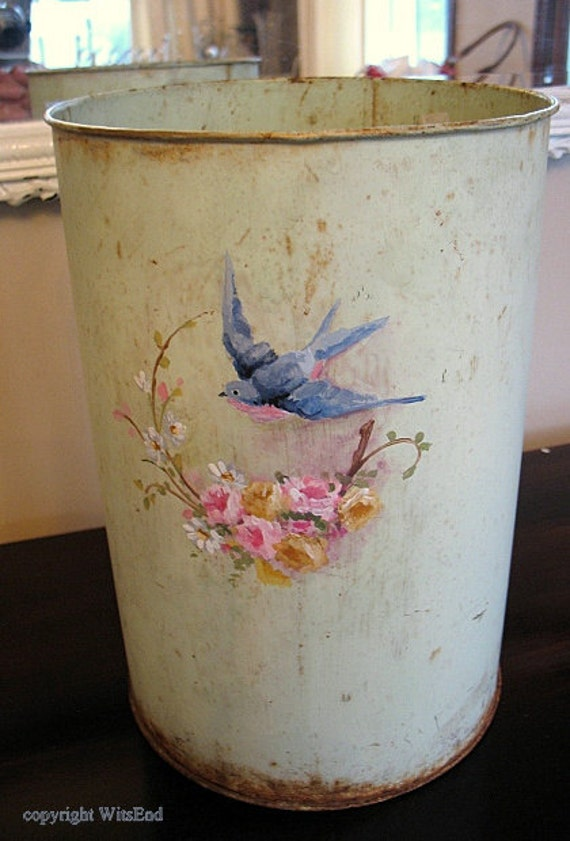 vintage bucket pail for flowers original minty green paint with ooak blue bird painting