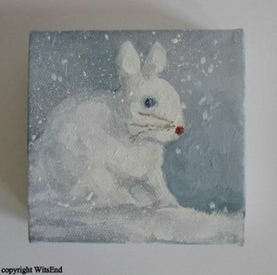 Snow Bunny Painting Treasury item original ooak art FREE usa shipping