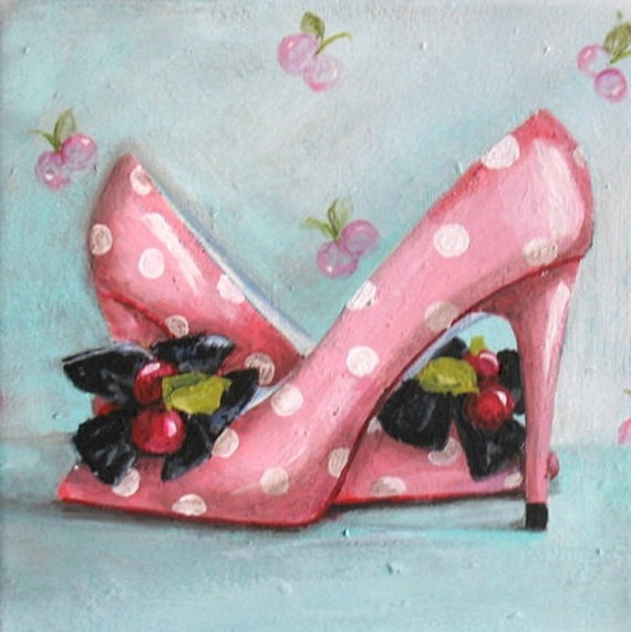 Cherry Heels painting original ooak canvas pink polka dot shoe art free USA shipping TREASURY item