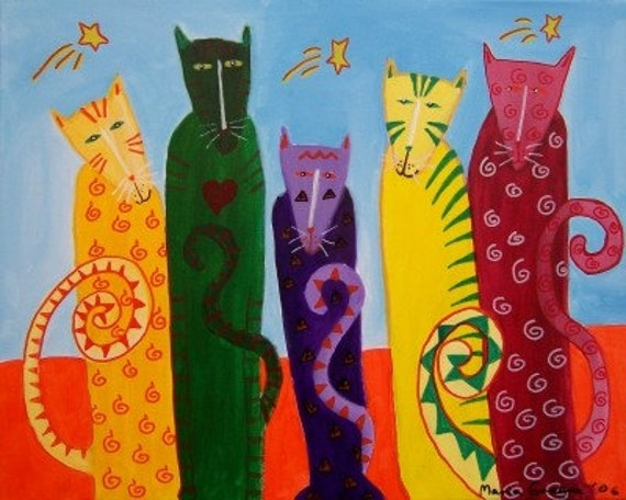 cats and stars acrylic art cat painting original teamwwes MMA